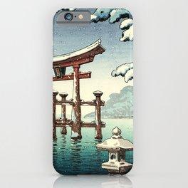 Tsuchiya Koitsu - Snowy Miyajima - Japanese Vintage Woodblock Painting iPhone Case