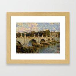French Impressionistic Arched Bridge Framed Art Print