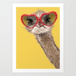 Fashion Hipster Ostrich in Yellow Art Print
