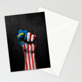 Malaysian Flag on a Raised Clenched Fist Stationery Cards