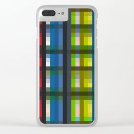 colorful striking retro grid pattern Nis Clear iPhone Case