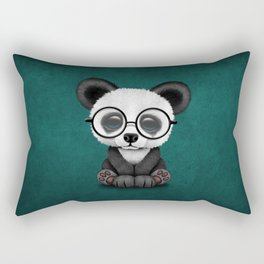 Cute Panda Bear Cub with Eye Glasses on Teal Blue Rectangular Pillow