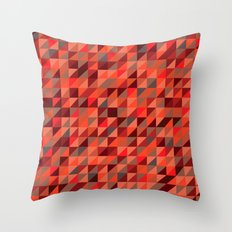 Quilted Reds / Retro Triangles Throw Pillow