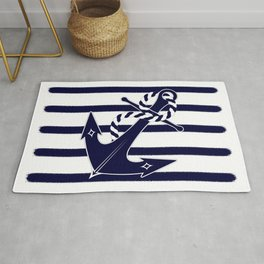 Nautical Navy Blue Anchor and Stripes Captain's Design Rug