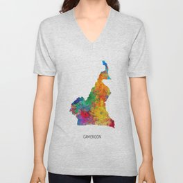 Cameroon Watercolor Map Unisex V-Neck