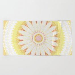 Sunshine Yellow Flower Mandala Abstract Beach Towel