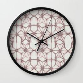Simply Shibori Stars in Red Earth on Lunar Gray Wall Clock