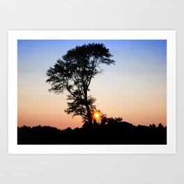 Patriotic Sunset Silhouette  Art Print