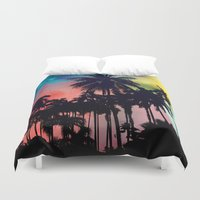 palm tree Duvet Covers featuring palm tree by mark ashkenazi