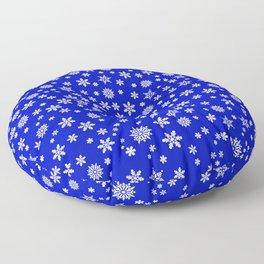 Snowflakes on Dark Blue Floor Pillow