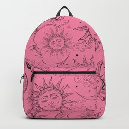 Pink Magic Celestial Sun Moon Stars Backpack