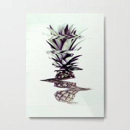Glitched Pineapple Metal Print