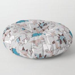 Origami dino friends // grey linen texture blue dinosaurs Floor Pillow