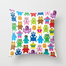 Monsters and Aliens Throw Pillow