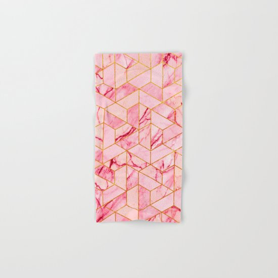 Pink Marble Hexagonal Pattern Hand & Bath Towel
