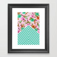Tropical Floral Chevron Framed Art Print