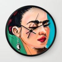 frida Wall Clocks featuring Frida by Jaleesa McLean