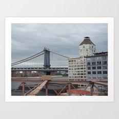 Brooklyn Bridge, New York City,  View of Hudson River, Skyline, Architecture,  Art Print