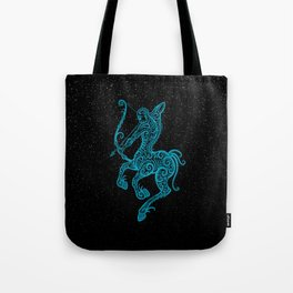 Blue Sagittarius Zodiac Sign in the Stars Tote Bag