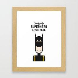 A Superhero Lives Here • Colorful Illustration Framed Art Print