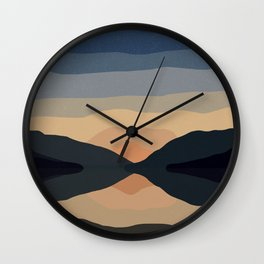 Sunset Mountain Reflection in Water Wall Clock