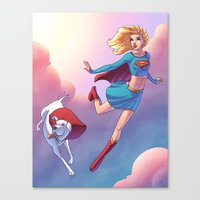 karu kara Canvas Prints featuring Kara And Krypto by J Skipper