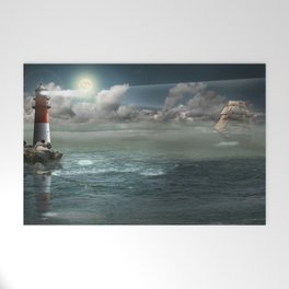 Lighthouse Under Back Light Welcome Mat