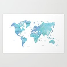 Watercolour World Map Art Print