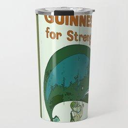 Guinness beer art print - 'Guinness for strength' vintage sign in green - vintage beer poster Travel Mug