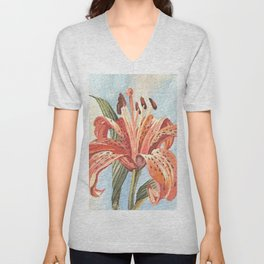 Orange Tiger Lily Watercolor Painting Unisex V-Neck