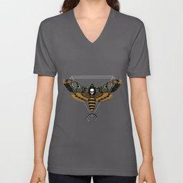 Death Moth (white for dark background) Unisex V-Neck