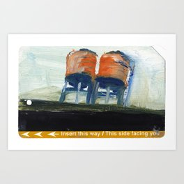 NYC Water Towers Painted on subway fare card Art Print