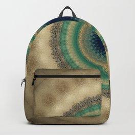 Gold Aqua Blue Mandala Backpack