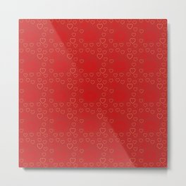 Bright ruby red fancy abstract love style pattern with fine golden hearts and bubbles Metal Print