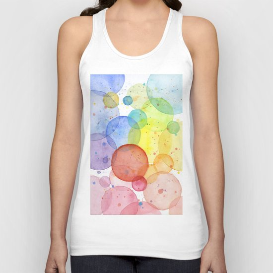Watercolor Abstract Rainbow Circles and Splatters Unisex Tank Top