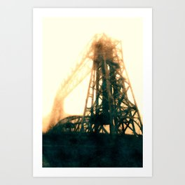 Aerial Lift Bridge In Fog Art Print