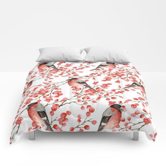 Bullfinch and red berries Comforters
