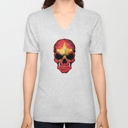 Dark Skull with Flag of Vietnam Unisex V-Neck