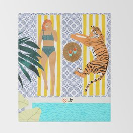 How To Vacay With Your Tiger #illustration Throw Blanket