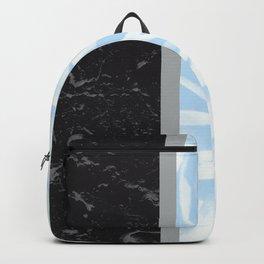 Light Blue Flower Meets Gray Black Marble #4 #decor #art #society6 Backpack