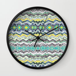 Teal Yellow White Midnight Aztec Wall Clock