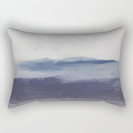 Plum Purple Navy Lavender Blue Abstract Painting Wall Art Prints, Ocean Waves Horizon, Modern Wall Rectangular Pillow