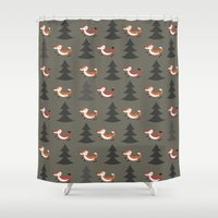 foxes Shower Curtains featuring Foxes by Maria Jose Da Luz