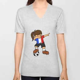 France Soccer Ball Dabbing Girl French Football 2018 Unisex V-Neck