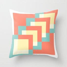 Squares Burnt Umber + Mint Throw Pillow