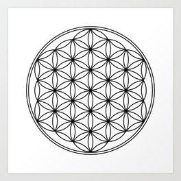 Flower of life in black, sacred geometry Art Print