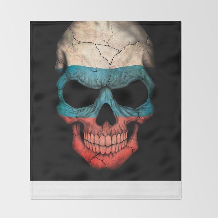 Dark Skull with Flag of Russia Throw Blanket