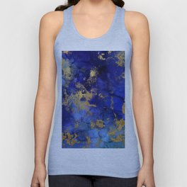 Gold And Blue Indigo Malachite Marble Unisex Tank Top