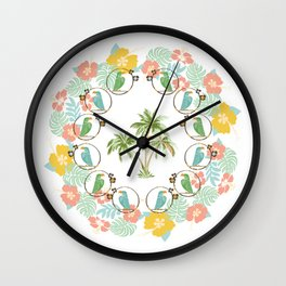 Cool Tropical Toucan Floral Wall Clock