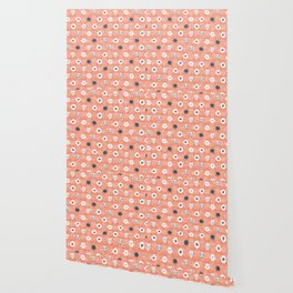 Doodle Dot Flower Peach and White Wallpaper